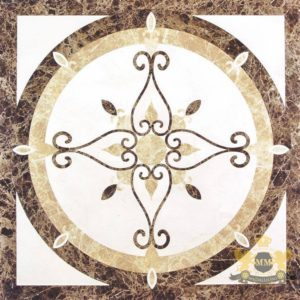Square waterjet floor medallion